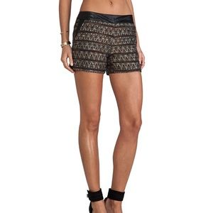 TRINA TURK NEW Borrego Tweed Faux Leather Shorts